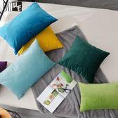 新款純色天鵝絨沙發靠墊抱枕靠枕辦公室靠背長方形腰枕套含芯WY 萬聖節