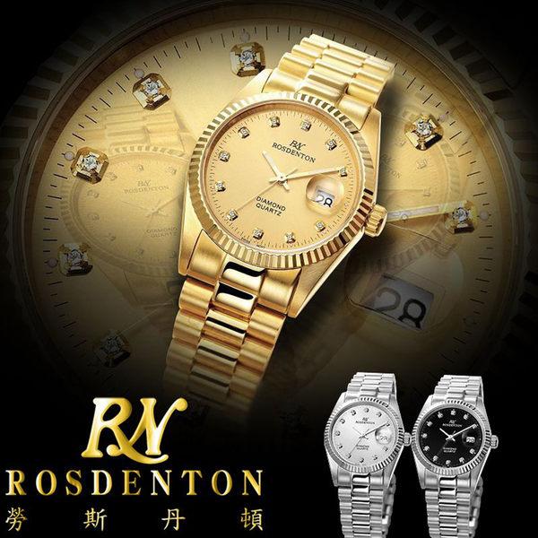 【台南 時代鐘錶 勞斯丹頓】ROSDENTON 經典珍藏真鑽金色男錶 6062MG-2G 金 33mm