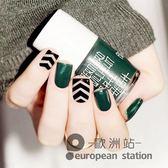 假指甲/黑色墨綠條紋成品貼片 短款美甲貼片 假甲片24片裝「歐洲站」