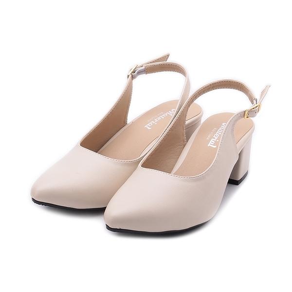 MATERIAL 小尖頭後空跟鞋 米 JIO0442 女鞋