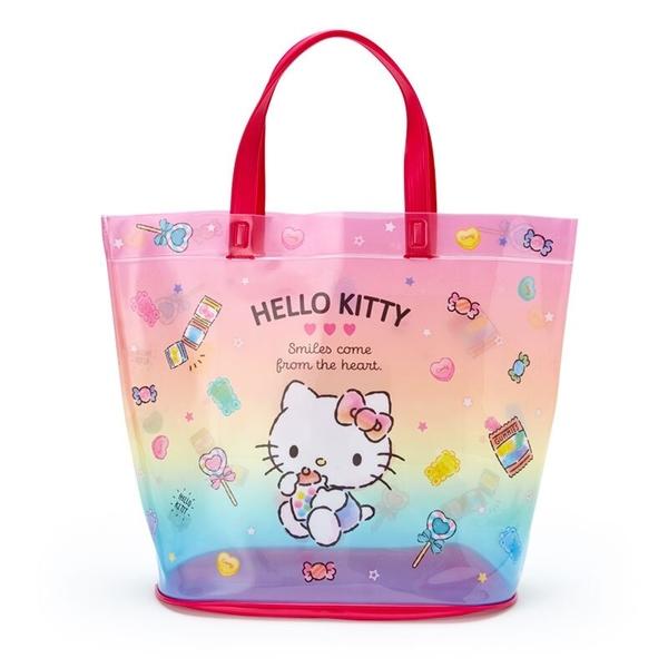 小禮堂 Hello Kitty 透明海灘袋 水桶提袋 游泳袋 泳具袋 防水袋 (紅 2021炎夏企劃) 4550337-47394