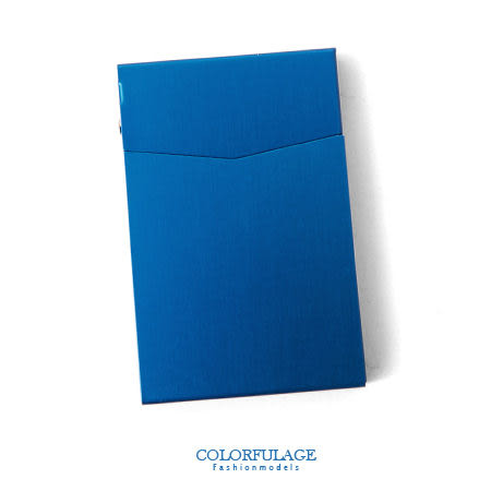 香菸盒 簡潔優美金屬自動彈蓋式煙盒 極光藍輕巧超薄型男單品 柒彩年代【NL134】俐落率性