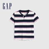 Gap 男幼童 清爽條紋亨利領短袖T恤 584574-藏青色