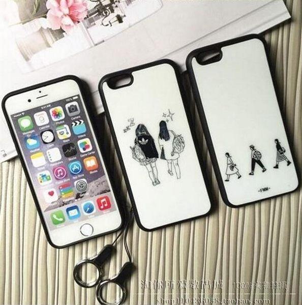 【SZ15】YY iphone 6s 4.7 黑邊搞怪女孩 手機殼(附掛繩) iphone 6s ihone se 5s 手機殼 iphone 6 iphone 6s plus