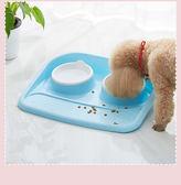 寵物用品 貓碗 雙碗寵物碗 防濺防漏狗碗 狗狗貓咪食盆WY【萬聖節全館大搶購】