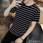 上衣 短袖T恤衫男士衣服青少年男裝體恤潮流正韓修身圓領條紋半袖 多色小屋