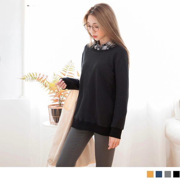 《AB4837-》美背設計素色衛衣長版上衣 OB嚴選