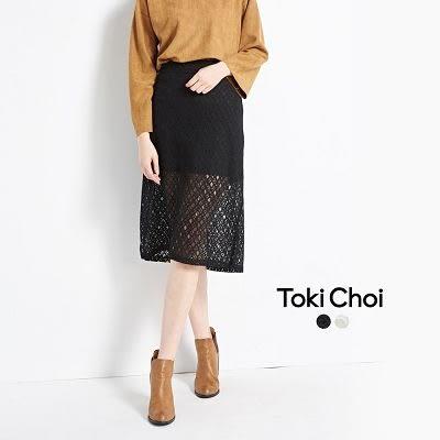 東京著衣-日雜款透膚蕾絲中長裙-S.M.L(6021943)