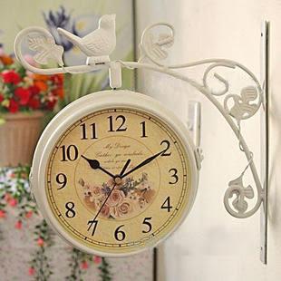 歐式田園雙面掛鍾小鳥站枝頭鐵藝靜音復古仿古雙面鐘錶白色