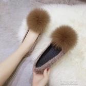 毛毛鞋-毛毛鞋女冬外穿新款韓版百搭網紅鞋子一腳蹬加絨豆豆平底 夏沫之戀