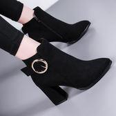 馬丁靴女英倫風韓版百搭短靴女粗跟時尚高跟靴子女冬中秋節促銷