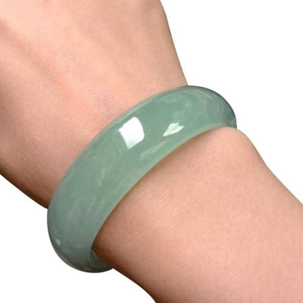 天然 冰種淺綠玉手鐲 帶證書女款玉鐲子 玉器翡翠色淡綠