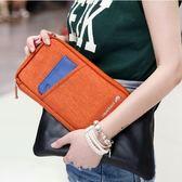 ~雙色長款包~韓系旅行隨身多用手拿包旅遊錢包證件護照夾卡片包帆布皮夾~~