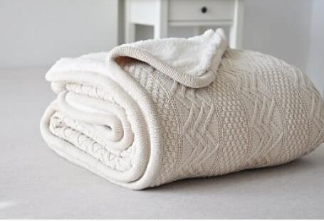 沙發蓋毯  空調毛毯 羊羔絨 米色【藍星居家】