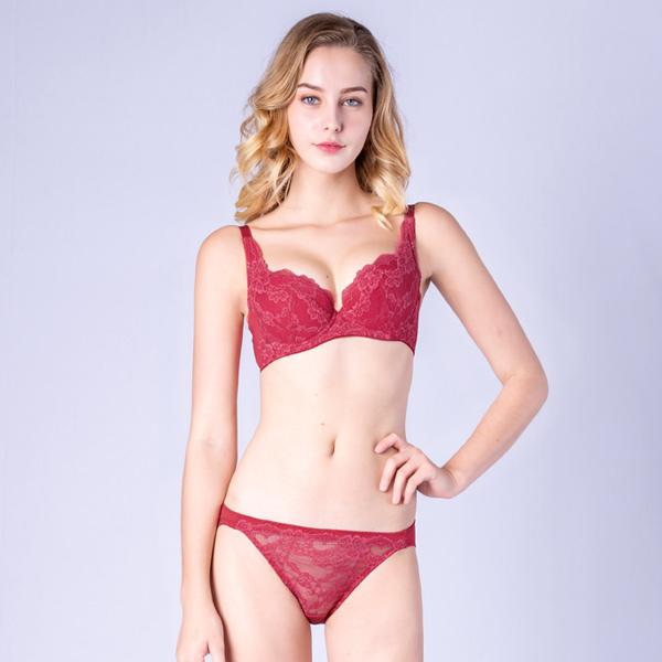 思薇爾-春舞花蝶系列B-F罩蕾絲包覆內衣(血玫瑰)