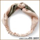 『坂井.亞希子』雙色拼接復古緞面寬版打結髮帶