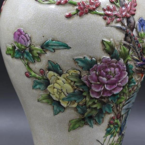 清乾隆年制浮雕粉彩花鳥觀音瓶 仿古瓷器 家居擺件 古董古玩收藏1入