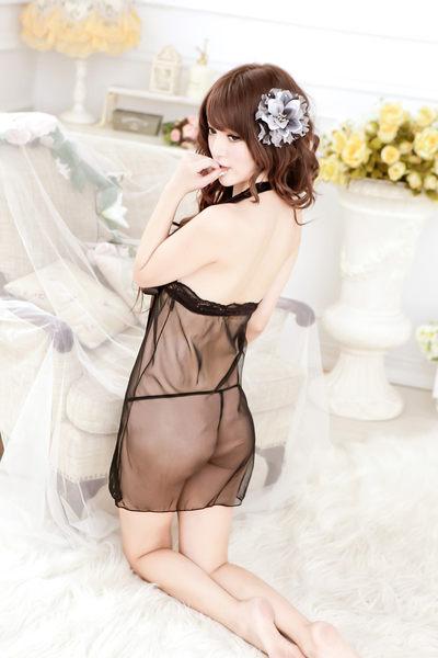 中大尺碼開襟蝴蝶結繞頸睡衣女衣薄紗露咪情趣內睡衣
