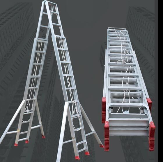 6米7米8米9米伸縮梯子加厚鋁合金人字梯雙面升降伸縮梯工程梯xw