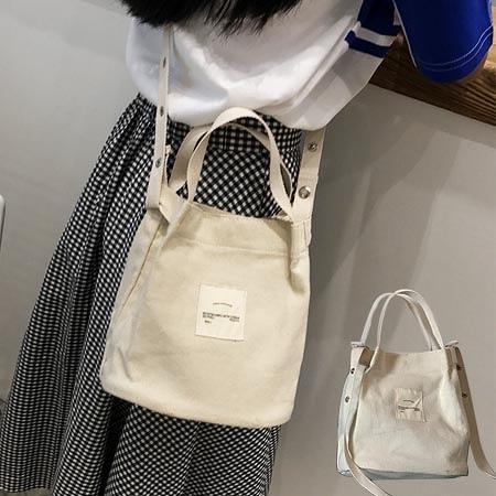 超值推薦~厚實手提側背水桶包 文藝米白帆布包【F9017】