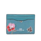 【COACH】防刮皮革小花卡夾/名片夾(藍色)F12773 SVCEH