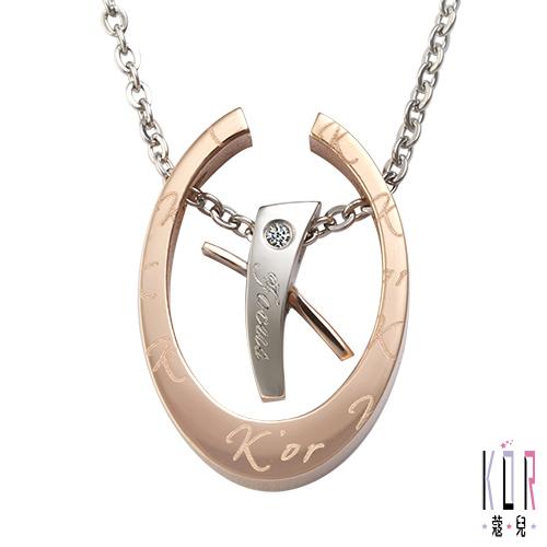 K'or蔻兒 愛的聚焦 0.01克拉鑽石 白鋼女項鍊-玫瑰金