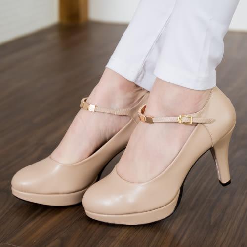 高跟鞋.氣質瑪莉珍一字釦高跟鞋.白鳥麗子