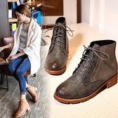 平底短靴-英倫簡約風復古加絨女馬丁靴2色73is32[時尚巴黎]