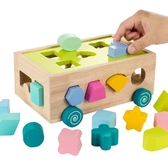 木頭積木形狀配對認知兒童拼裝早教益智力玩具