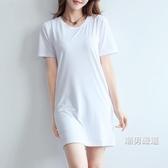 大尺碼洋裝正韓修身新品中長版莫代爾短袖t恤裙女純白色大尺碼體恤學生連身裙S-3XL
