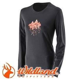 【Wildland 荒野 女 遠紅外線印花保暖衣 黑】 22655/遠紅外線/保暖衣