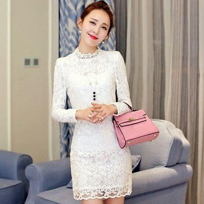 洋裝-蕾絲時尚英倫風花邊領包臀修身長袖連身裙72f18【巴黎精品】