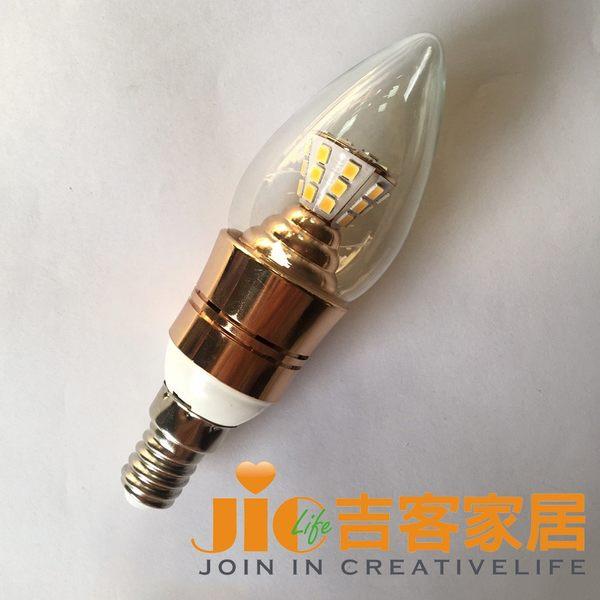 [吉客家居] 燈泡 - LED E14 7W 尖淸燈泡 黃光 110v~220v全電壓