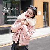 保暖外套--奢華貴氣高效暖意可拆式毛毛領排扣雙口袋羽絨棉外套(黑.粉L-3L)-J315眼圈熊中大尺碼