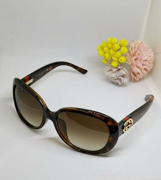 【雪曼國際精品】GUCCI-時尚太陽眼鏡(琥珀色) 緹花布LOGO最新系列~二手9.5新