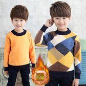 新款男童毛衣套頭 秋冬款兒童寶寶針織衫6-10-12歲加絨加厚 草莓妞妞