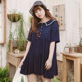 Poly Lulu 夏日小清新海軍風領片小洋裝-深藍【92270312】