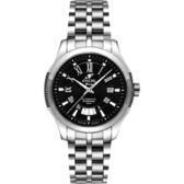ENICAR 英納格 羅馬經典系列機械腕錶-黑/銀 3165-50-331aB