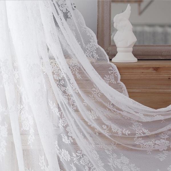 窗紗服裝店蕾絲窗簾紗簾裝飾網紅抖音短款半簾隔斷門簾魔術貼透光布料 【快速】