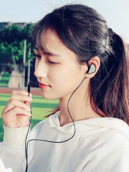 Q3入耳式耳機重低音跑步手機線控通用掛耳帶運動耳塞音樂korea時尚記