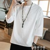 中國風夏男裝亞麻棉麻大碼上衣短袖T恤寬鬆中袖七分袖半截袖唐裝 蓓娜衣都