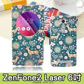 E68精品館 彩繪視窗皮套 華碩 ZENFONE2 Laser 6吋 開窗透視手機套保護套可立支架短磁扣 ZE601KL