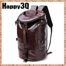 男休閒PU水桶大容量手提單肩雙肩後背包行李包-黑/咖【AAA0453】預購