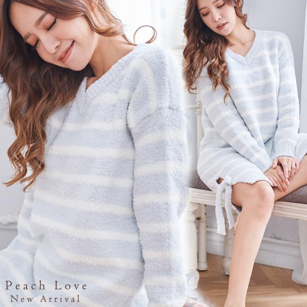 秋冬睡衣 高科技毛線簡約條紋睡衣-睡裙(藍底白條)-保暖、居家服_蜜桃洋房