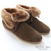 ★零碼出清★Keeley Ann 雜誌推薦款~2 way 翻毛領綁帶內增高短靴 (卡其)