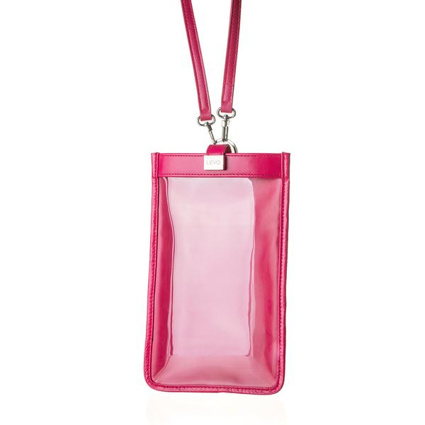 【LIEVO】 TOUCH - 真皮斜背手機護照包_桃紅(115 * 195 mm機身尺寸以下皆適用)