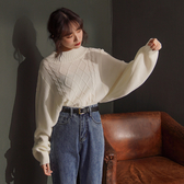IN SHOP 菱格高領泡泡袖針織毛衣-共3色【KT221565】
