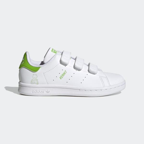 Adidas Stan Smith Cf C [FZ1153] 大童鞋 運動 休閒 魔鬼氈 科米蛙 愛迪達 白 青綠