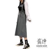 EASON SHOP(GW8016)實拍壓釦抽繩鬆緊腰後開衩吊帶工裝裙女背帶裙過膝中長款長裙高腰素色半身裙A字裙