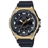 CASIO 簡約立體刻度運動指針錶-黑面金框(MWC-100H-9A)